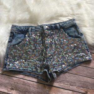 Topshop Moro Sequin Shorts